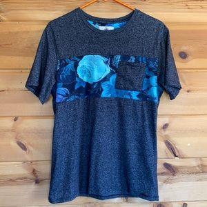 Men's T-shirt floral rose gray black blue medium